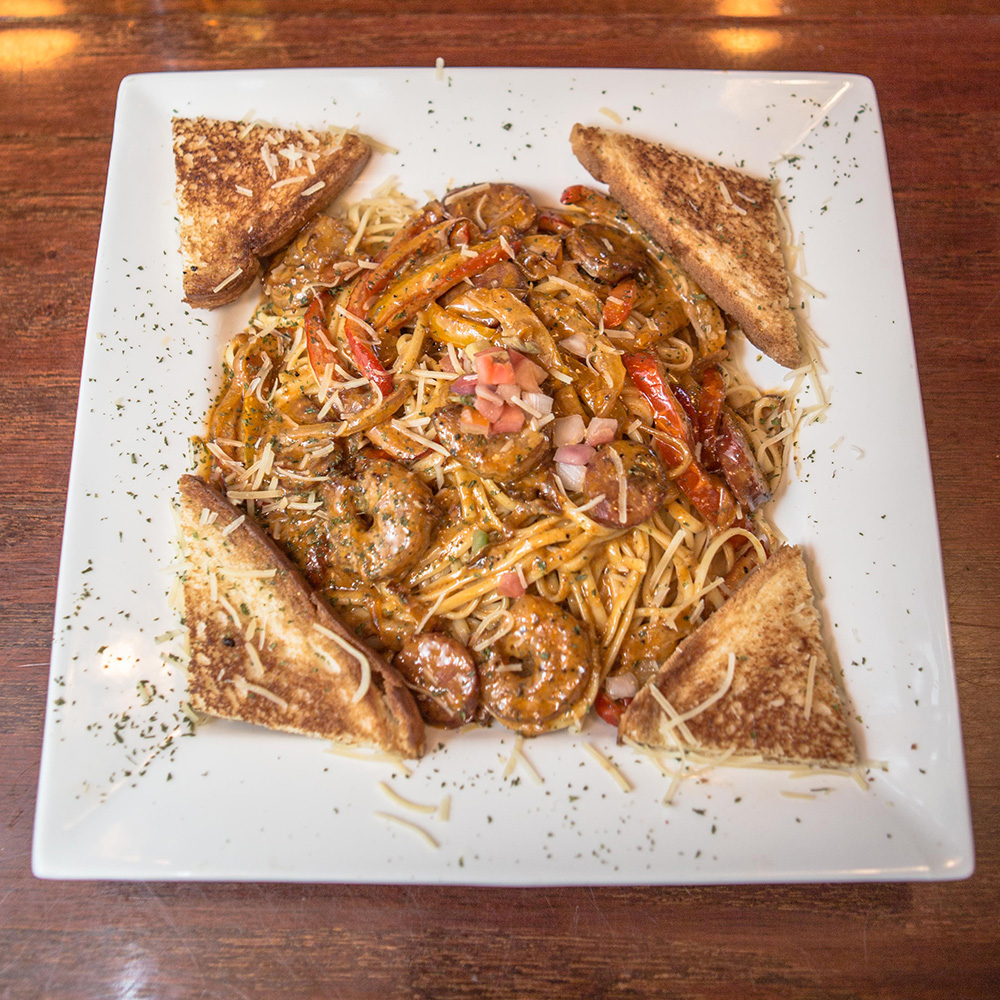 Fresh pasta with savory shrimp served at The Pointe at Lake Gaston