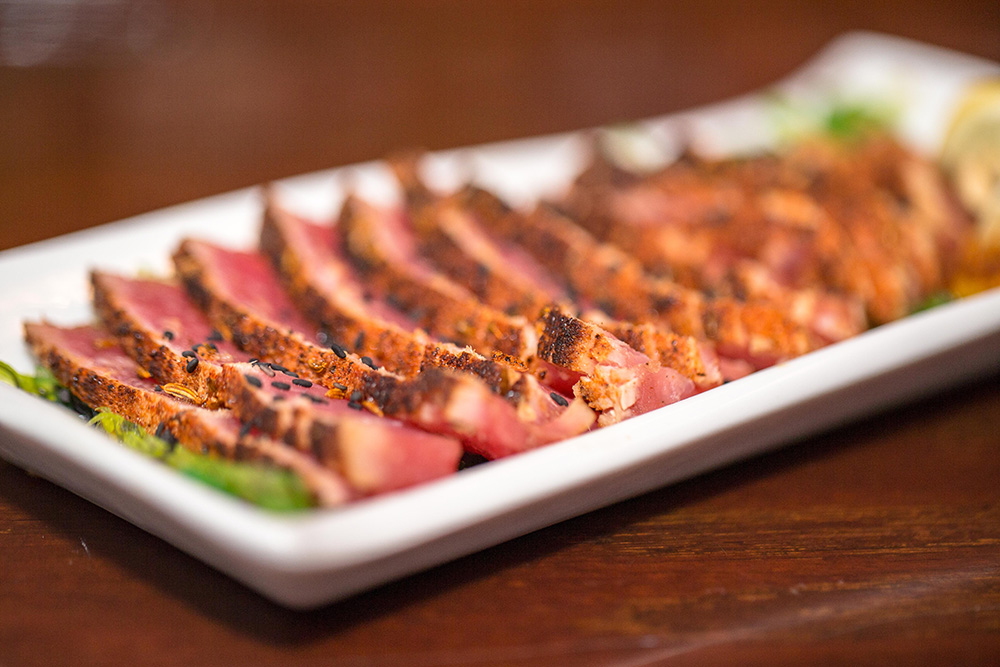 Fresh seafood appetizers and dishes served at The Pointe at Lake Gaston - Ahi Tuna